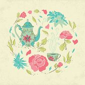 stock photo of teapot  - Card for tea party - JPG