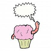 cartoon worm in cupcake with speech bubble