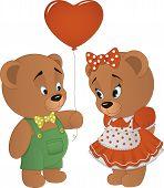 Cute bears with heart