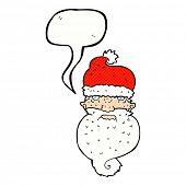 cartoon grim santa face with speech bubble