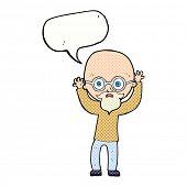 cartoon stressed bald man with speech bubble