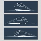 Set of modern speed train silhouettes