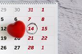 Love Calendar With Heart, Top View