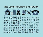 200 construction, communication, network, business icons, illustrations, signs set, vector