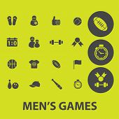 games, sport. fitness, gym icons, signs, illustrations set, vector