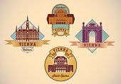 Set of retro-styled Vienna city tour labels. Editable vector illustration.