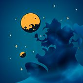 Nebula, planets and stars in space, vector illustration