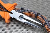 Pliers with electrical cables