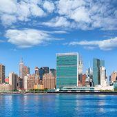 Manhattan New York sunny skyline East River NYC USA
