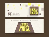 Sale website header or banner set with discount offer.