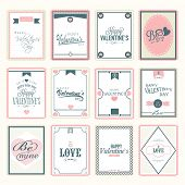 Collection of love postage stamps for Happy Valentines Day celebration.