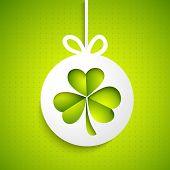 Irish lucky clover leaf for Happy St. Patrick's Day celebration.