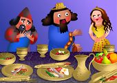 pic of banquet  - A cartoon illustration depicting queen Esthers banquet with the Persian king Ahasuerus and Haman - JPG