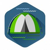 Graphical camping illustration made in flat style. Vector camping concept with tent and nature