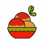 Peach flat icon with long shadow
