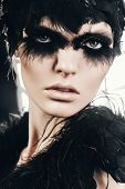 Beautiful Hot Woman With Black Feathers On Eyes