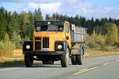 Classic Scania 110 Truck On The Road