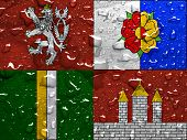 pic of bohemian  - flag of South Bohemian Region with rain drops - JPG