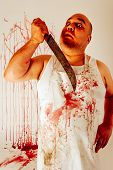 picture of insane  - Crazy insane butcher covered with blood - JPG