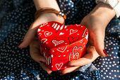 Box In Shape Of Heart In Female Hands