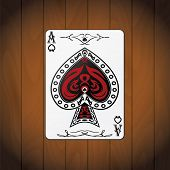 image of ace spades  - Ace of spades poker cards varnished wood background - JPG