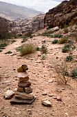 Path With Bedouin Sign Made Of Stones In Petra, Jordan