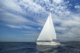 stock photo of boat  - Cruising on a sailing boat - JPG