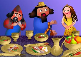 stock photo of banquet  - A cartoon illustration depicting queen Esthers banquet with the Persian king Ahasuerus and Haman - JPG