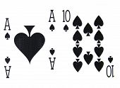 foto of ace spades  - best classic winning blackjack combination ten and ace of spades - JPG