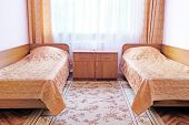 picture of motel  - Two beds in motel room - JPG