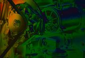 image of lube  - Close up of transmission belt on car engine artistic image technique - JPG
