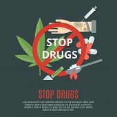 image of crack addiction  - Stop drugs concept with marijuana leaf syringe and pills flat icons set vector illustration - JPG