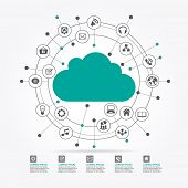 Cloud surrounded by abstract computer network with integrated circles and icons for digital,  networ poster