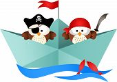 picture of boat  - Scalable vectorial image representing a pirates owls in a boat - JPG