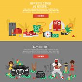 picture of rapper  - Rap music horizontal banner set with rapper lifestyle accessories isolated vector illustration - JPG