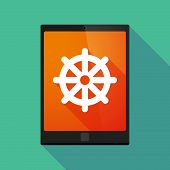 foto of dharma  - Illustration of a tablet pc icon wit a dharma chakra sign - JPG