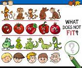 stock photo of preschool  - Cartoon Illustration of Finding Improper Item Educational Game for Preschool Children - JPG