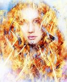 picture of clairvoyant  - beautiful airbrush painting of an enchanting woman face with structure colour background fire effect - JPG
