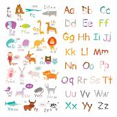 image of zoo animals  - Cute vector zoo alphabet with cartoon and funny animals in vector - JPG