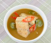 stock photo of thai cuisine  - Red fish spicy curry with eggplant Thai cuisine - JPG