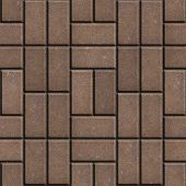 image of paving  - Brown Pave Slabs Rectangles Laid out in a Chaotic Manner - JPG