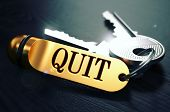 foto of quit  - Keys and Golden Keyring with the Word Quit over Black Wooden Table with Blur Effect - JPG