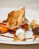 picture of haggis  - Elegant chicken dish with vegetables haggis shrimps and foaming sauce  - JPG
