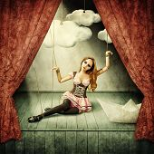 foto of stage theater  - Beautiful woman marionette on stage puppet theater - JPG
