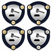 image of symbol justice  - Set of four abstract icons and golden screws with the symbol of justice - JPG