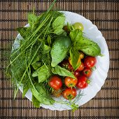 stock photo of roughage  - Fresh vegetables and herbs picked from garden in bowl - JPG