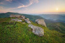 stock photo of farm landscape  - Beautiful sunrise in the mountains - JPG