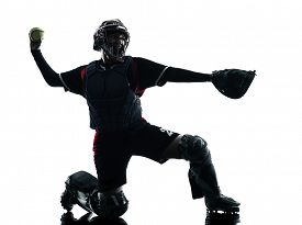 picture of softball  - one woman playing softball players in silhouette isolated on white background - JPG