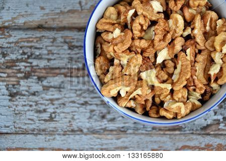 Walnut Nuts Clean Fresh Organic Walnuts Blue Wooden Background 1