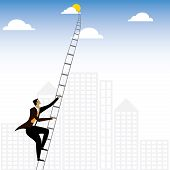 Businessman Or Executive Climbing Stairs To Sky - Vector Graphic poster